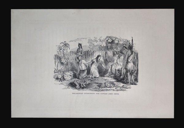 Pocahontas Interceding for John Smith Engraving, 1870s