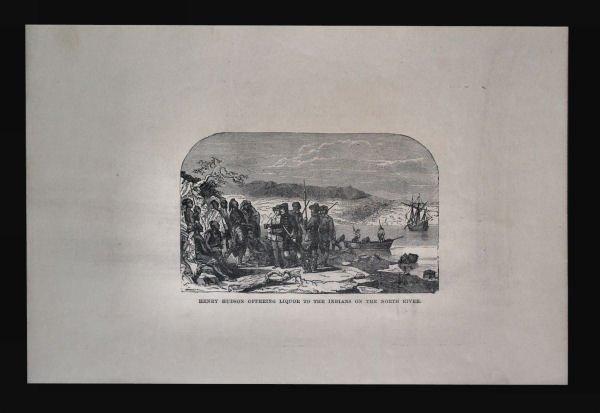Henry Hudson Offering Liquor to Natives Engraving,