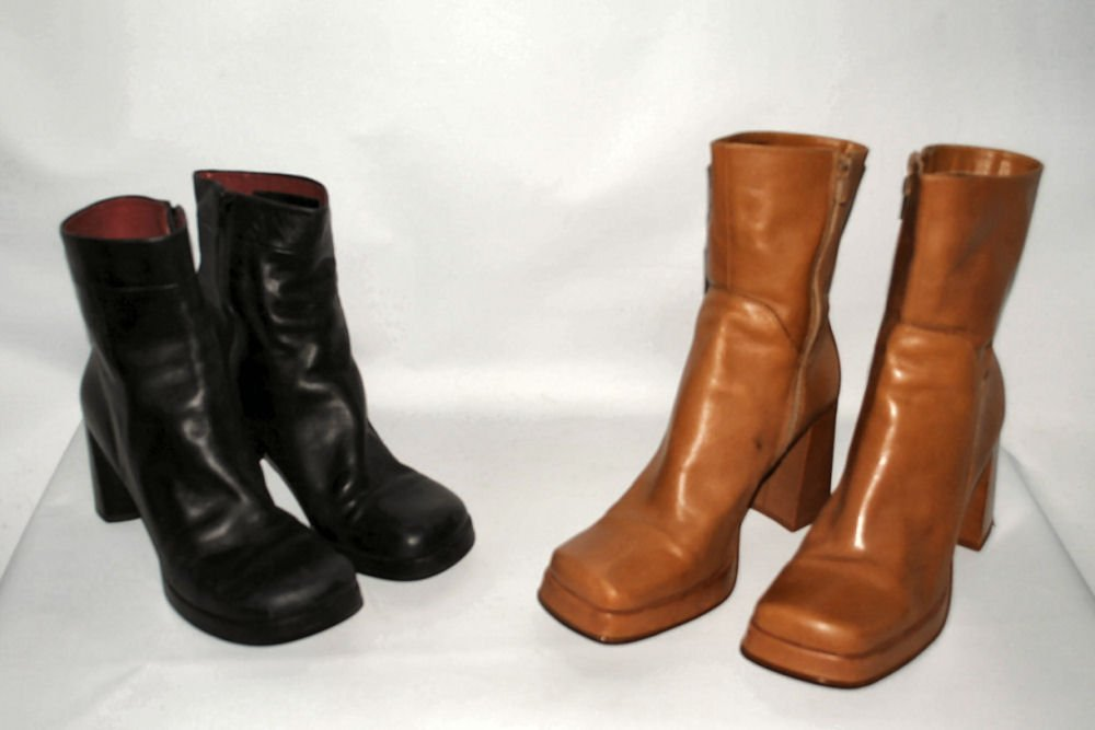 Two Pair Womens Leather Boots