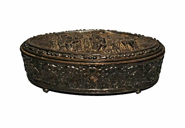 Antique Repousse Jewelry Casket