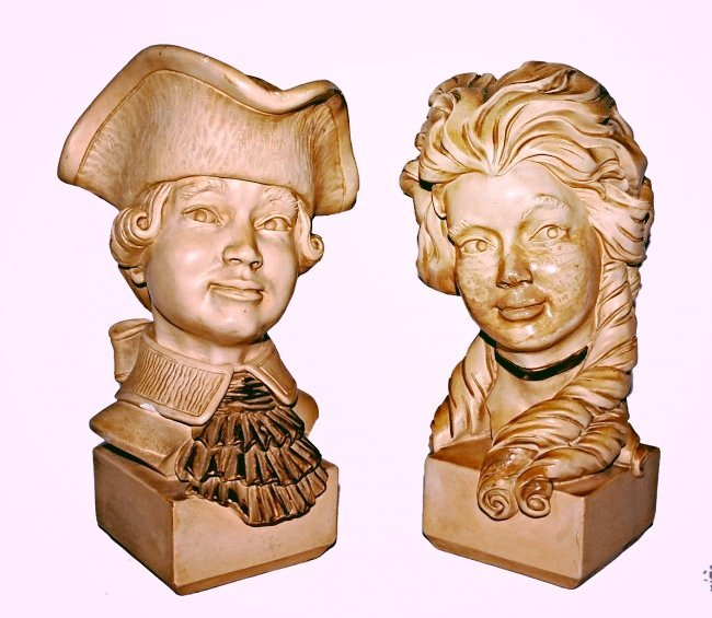 Pr of Ivory Colonial Busts - Universal Statuary 1961