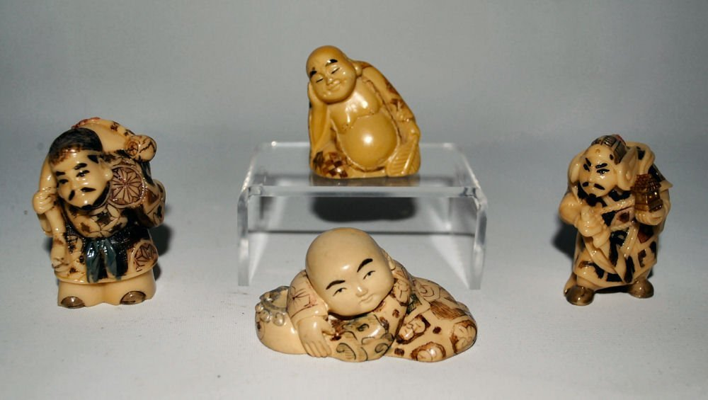 Lot/4 Japanese Carved Figures