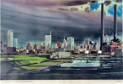 Ed Bearden 1959 Dallas Skyline Lithograph