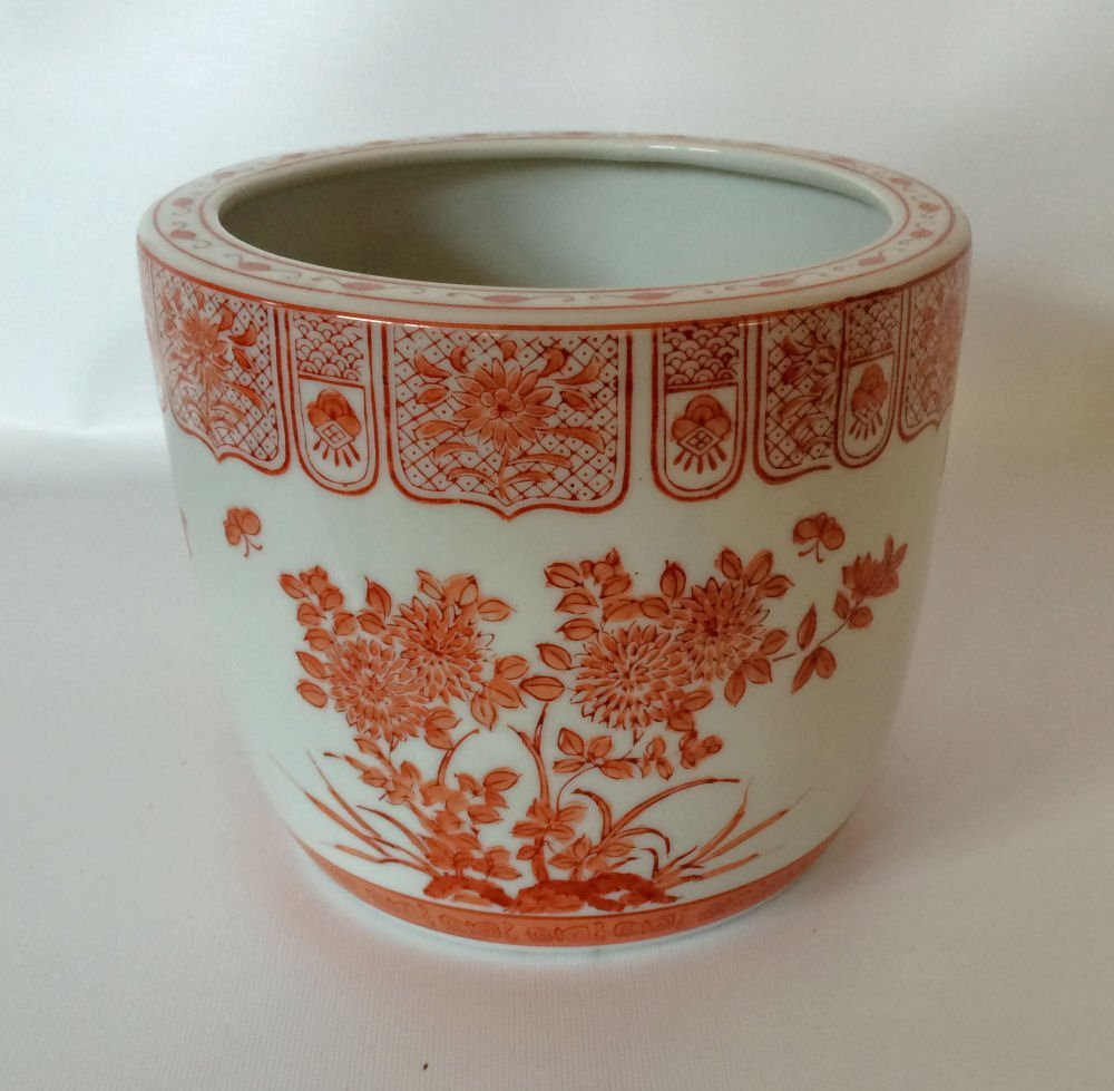 Asian Red/White Jardiniere