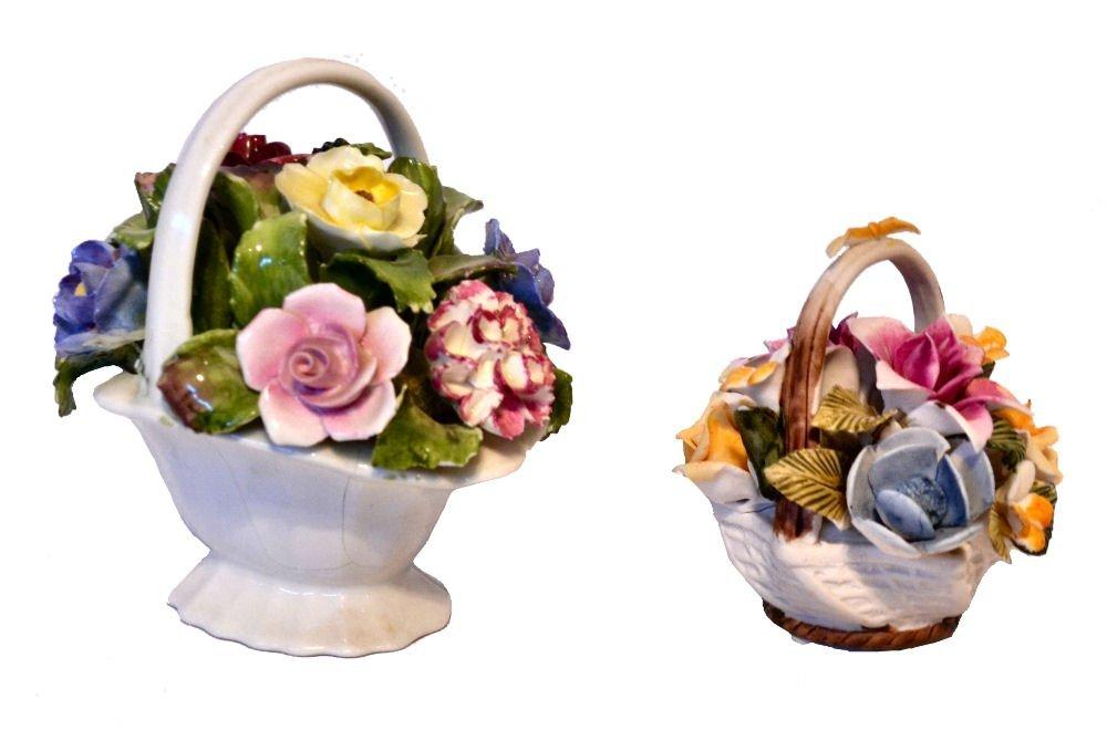Lot/2 Small Porcelain Baskets