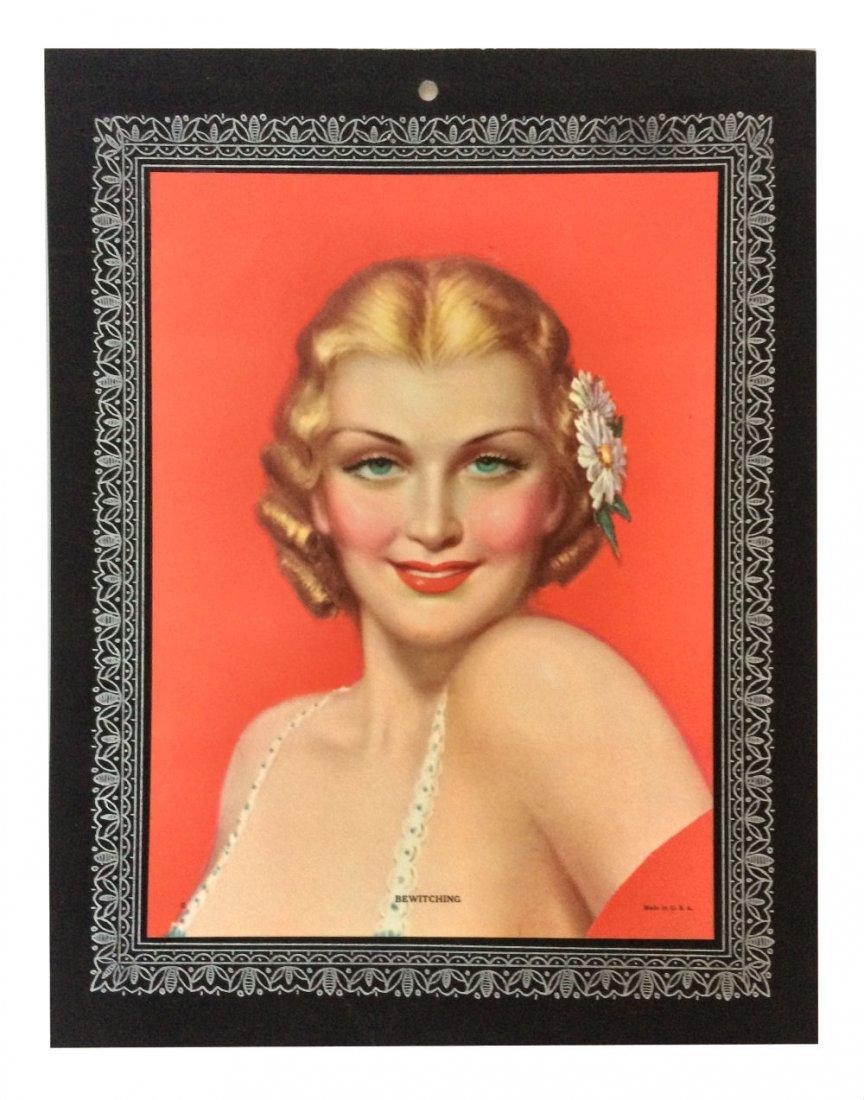 Vintage Pin-up Calendar Girl Lithograph