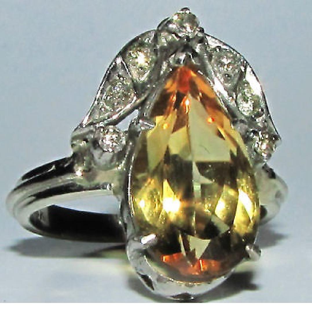 3.15CT NATURAL CITRINE DIAMOND RING 14KT