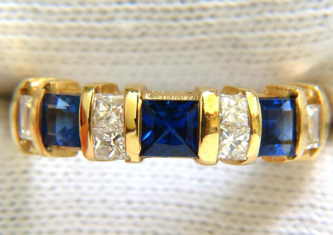 NATURAL 1.50CT PRINCESS FINE GEM SAPPHIRE DIAMOND BAND