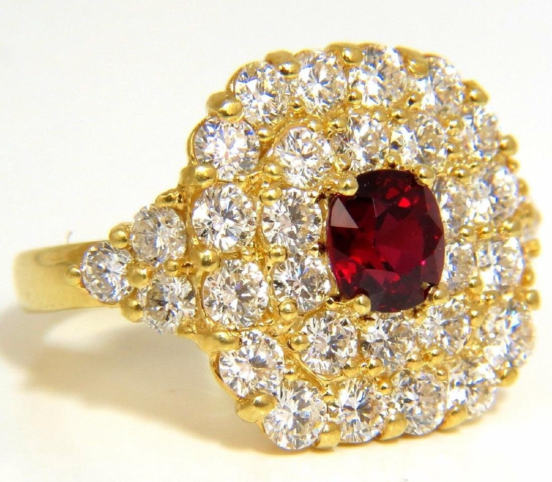 GIA 4.79CT NATURAL RED NO HEAT RUBY DIAMONDS CLUSTER
