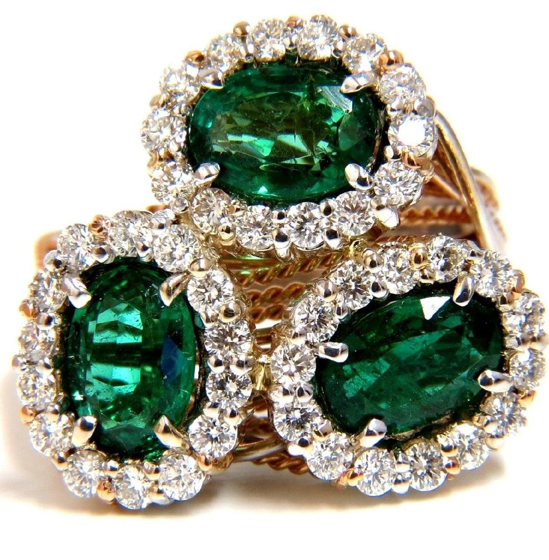 4.02CT EMERALDS DIAMONDS CLUSTER COCKTAIL RING 18KT