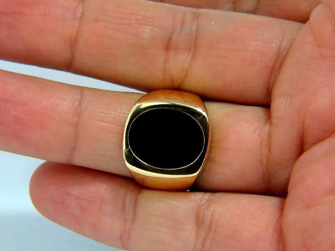 15X11mm NATURAL JET BLACK ONYX MENS RING 14kt. CLASSIC - 5