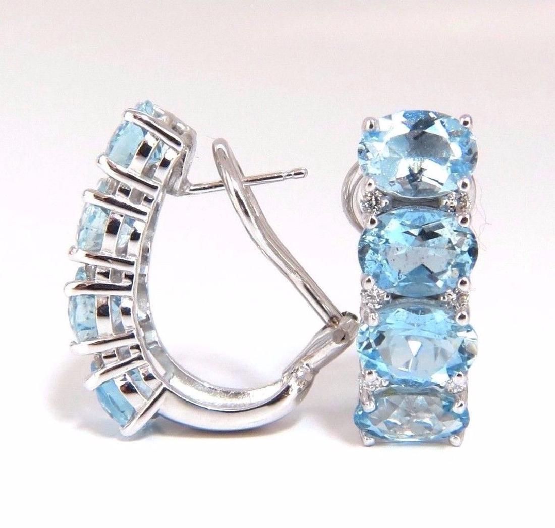 9.76ct natural blue aquamarine diamonds semi hoop ear