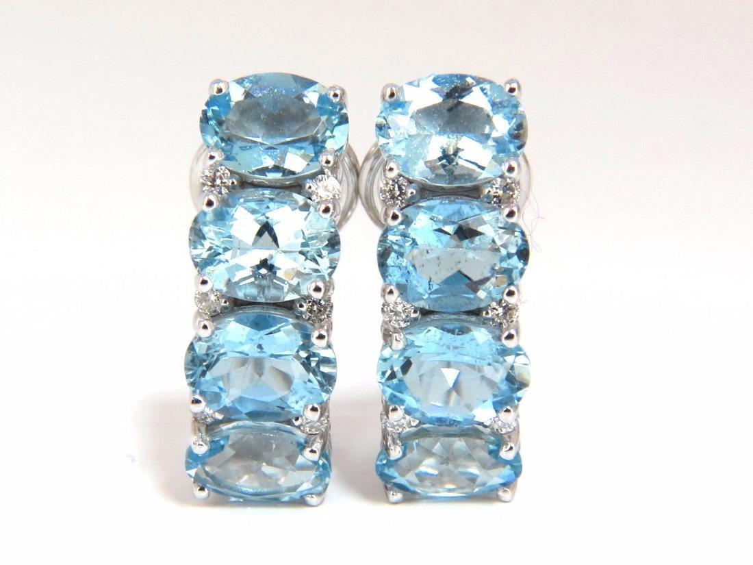 9.76ct natural blue aquamarine diamonds semi hoop ear - 2