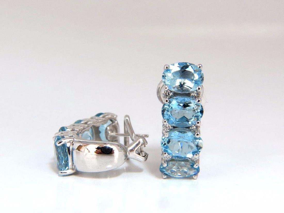 9.76ct natural blue aquamarine diamonds semi hoop ear - 3