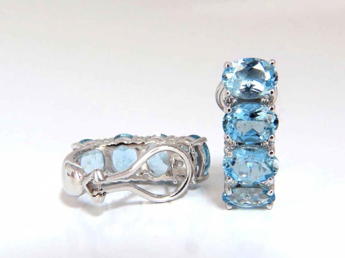 9.76ct natural blue aquamarine diamonds semi hoop ear - 4