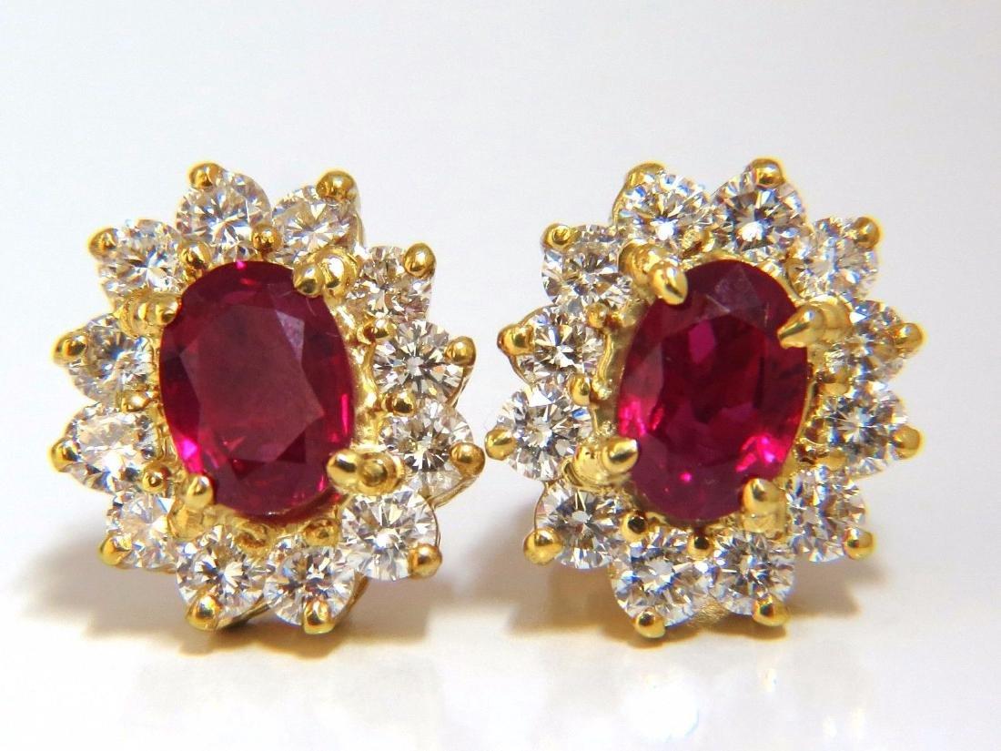 GIA Certified 3.64ct. Natural ruby diamond earrings 18k