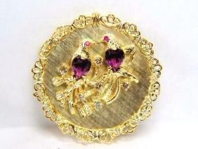 4.64CT AMETHYST RUBY DIAMOND BROOCH 14KT YELLOW GOLD