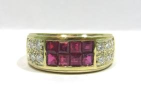 NATURAL 2.15CT RUBY DIAMOND BAND RING 18KT YELLOW GOLD