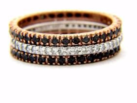 18KT PINK GOLD DIAMOND BAND TRIPLE ROLLING RING