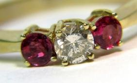 NATURAL 0.90CT DIAMOND RUBY BAND RING 14KT