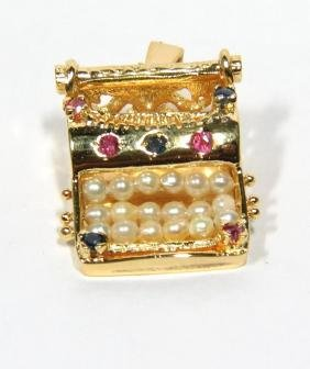 NATURAL 0.35CT SAPPHIRE RUBY PEARL PENDANT TYPEWRITER