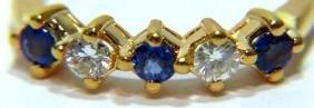 NATURAL SAPPHIRE DIAMOND 5 STONE BAND RING 14KT