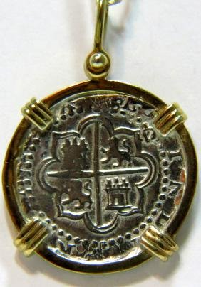 UNKNOWN COIN PENDANT FRAMED IN 14KT YELLOW GOLD VINTAGE