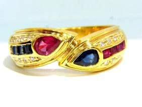 ANTIQUE SAPPHIRE RUBY DIAMOND 0.60CT BAND LADIES VS2