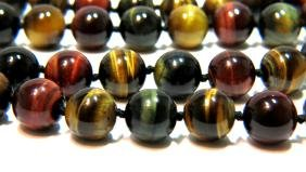"NATURAL TIGER EYE BEAD 17"" STRAND NECKLACE NEW MULTI"