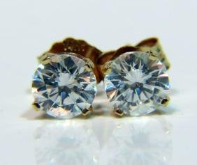 NATURAL ZIRCON STUD EARRINGS 14KT PETITE