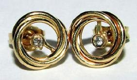 14KT LOVE KNOT YELLOW GOLD DIAMOND STUD EARRINGS