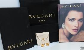 BULGARI 18KT YELLOW GOLD BUTTERFLY EARRINGS 19.2 GRAMS