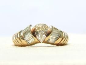NATURAL 1.20CT DIAMOND BAND 14KT RING CHAMPAGNE BAGUETT