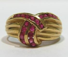 NATURAL 0.50CT RUBY COCKTAIL LADIES BAND RING 14KT