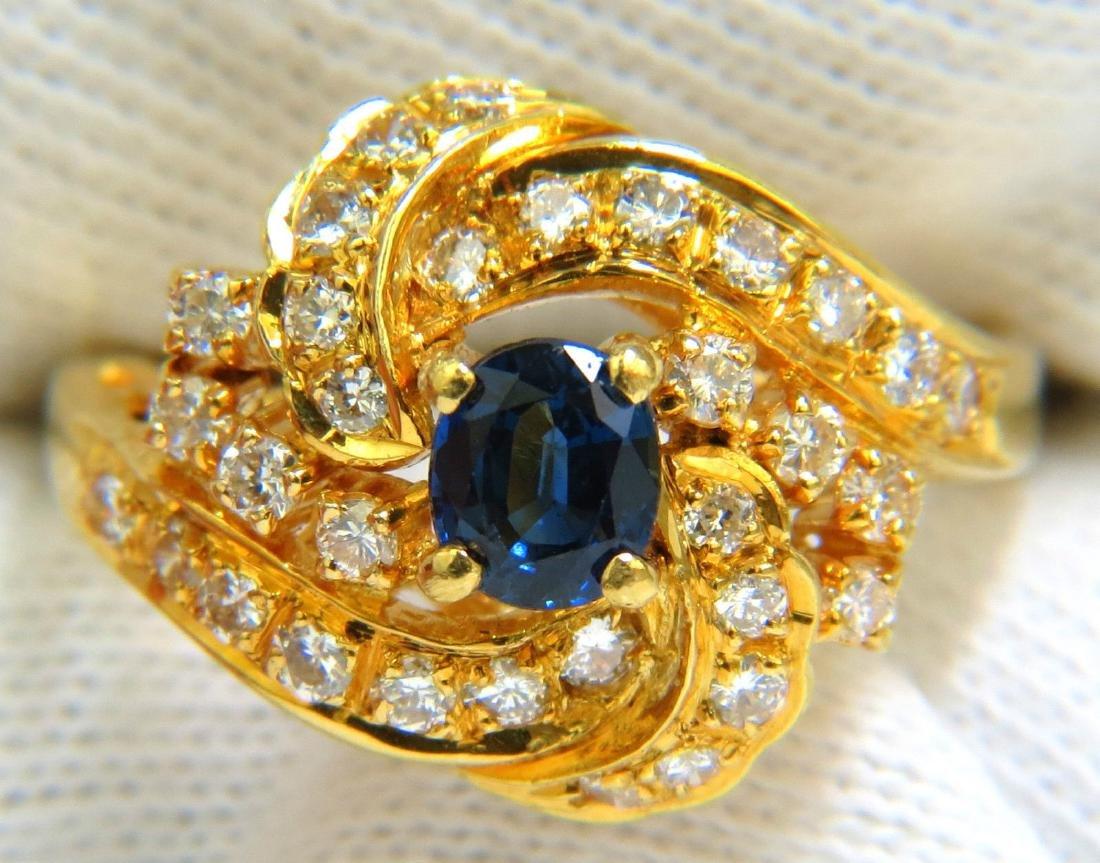 18KT 1.75CT FINE GEM SAPPHIRE DIAMOND COCKTAIL RING
