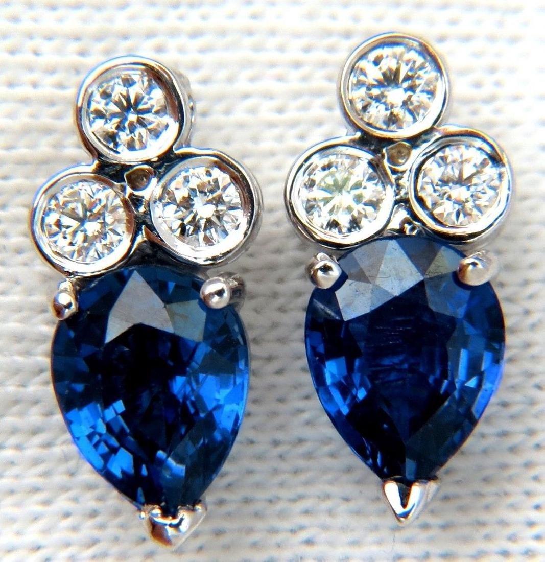 3.45CT NATURAL SAPPHIRE DIAMONDS CLUSTER STUD EARRINGS