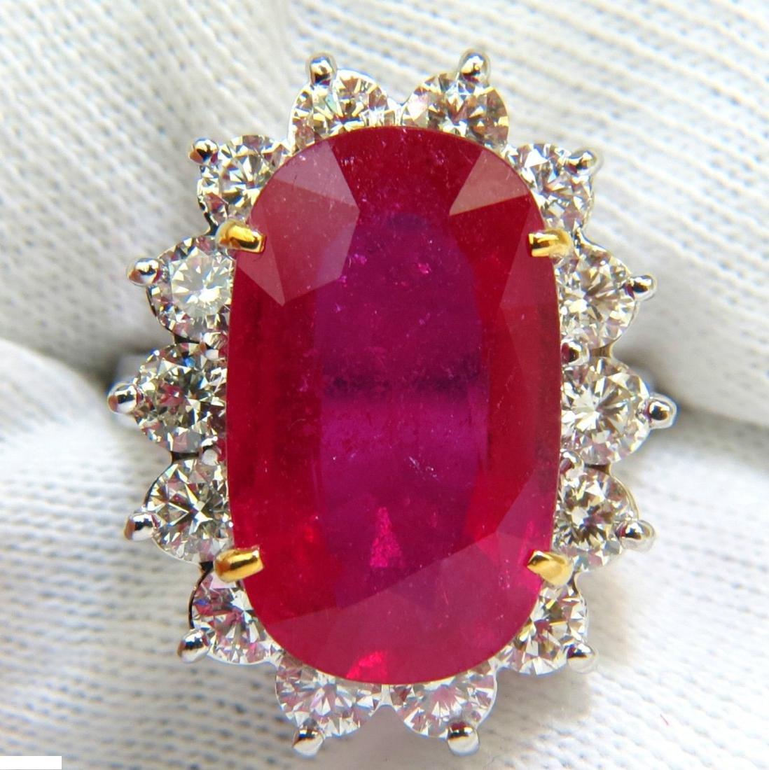 17.90CT HUGE ENHANCED RUBY DIAMOND RING 14KT DIANA DECO