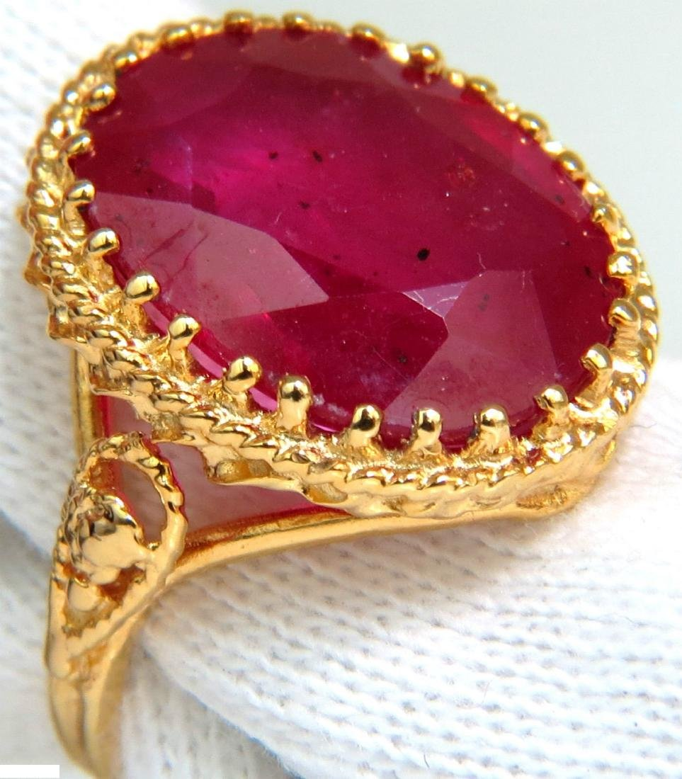 9.40CT ENHANCED RED RUBY DIAMOND RING 14KT ROPE TWIST