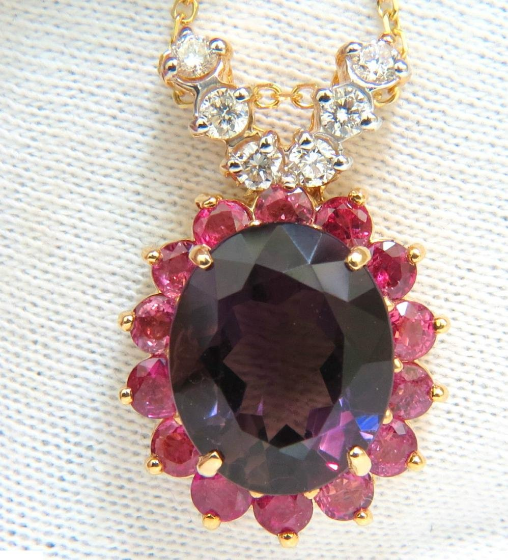 14KT 13.5CT NATURAL AMETHYST RUBY DIAMONDS CLUSTER HALO
