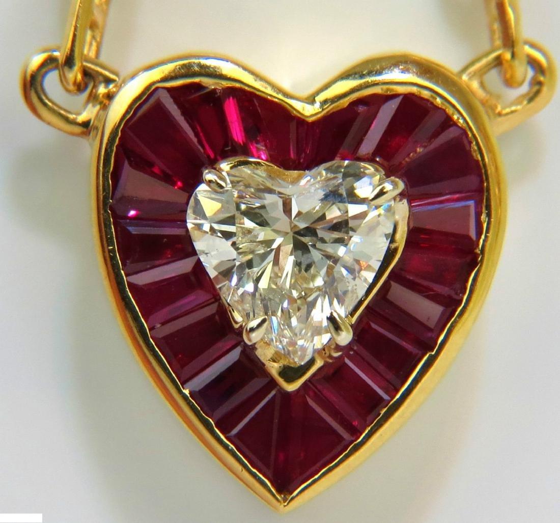 2.36CT NATURAL BRILLIANT HEART DIAMOND GEM RUBY PENDANT