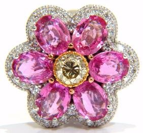 9.33ct Natural Vivid Pink Sapphire Fancy Yellow Diamond