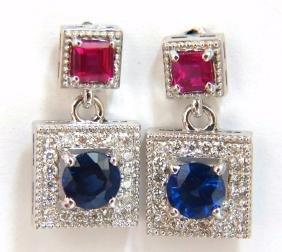 2.12ct Natural Sapphire Ruby Diamond Dangle Earrings