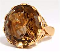 Russian Imperial Vintage 18kt 40ct natural topaz ring