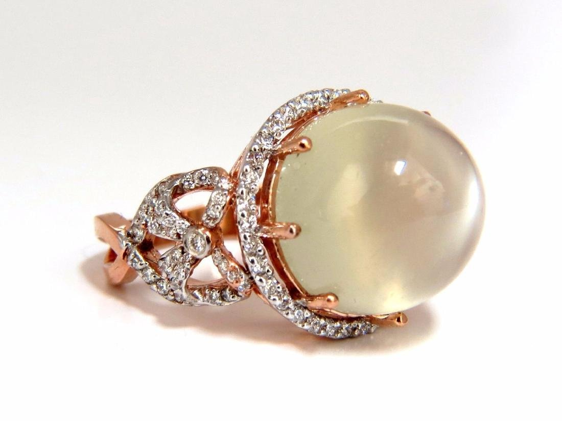 15.70ct natural prime moonstone diamonds ring 14kt