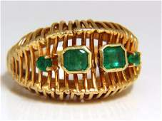 1.30ct Natural emeralds dome grill vintage ring 18kt