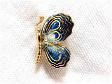 18kt Enamel Butterfly Pin Artisan Deco