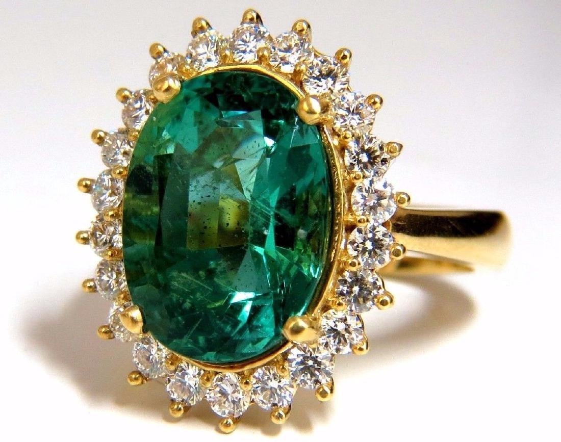 GIA Certified 8.60ct natural green emerald diamonds rin