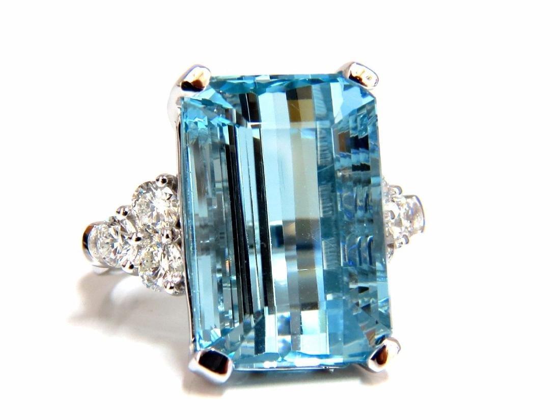 GIA Certified 19.99ct Natural Aquamarine diamonds ring - 2