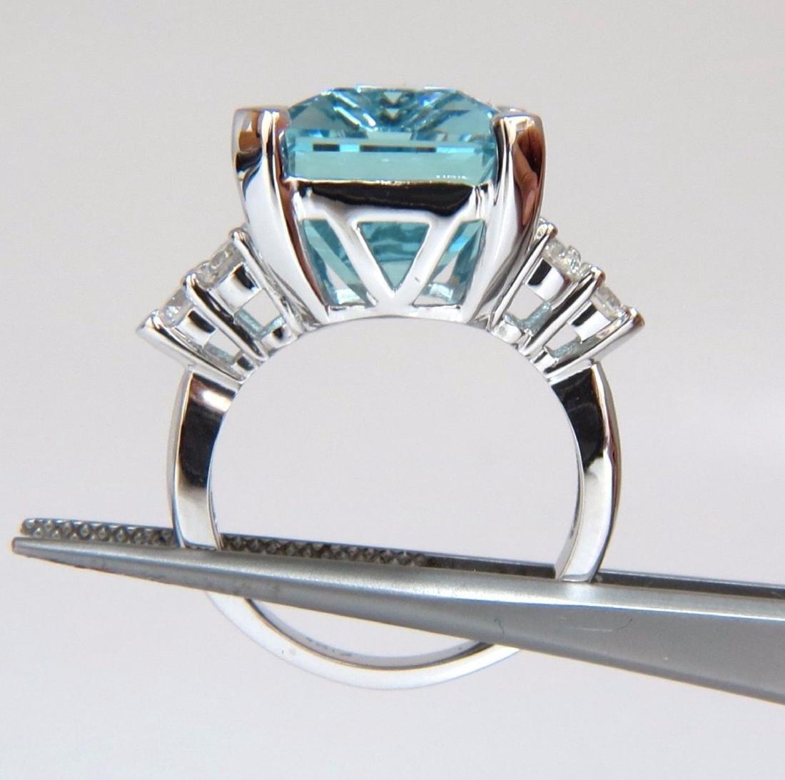 GIA Certified 19.99ct Natural Aquamarine diamonds ring - 5