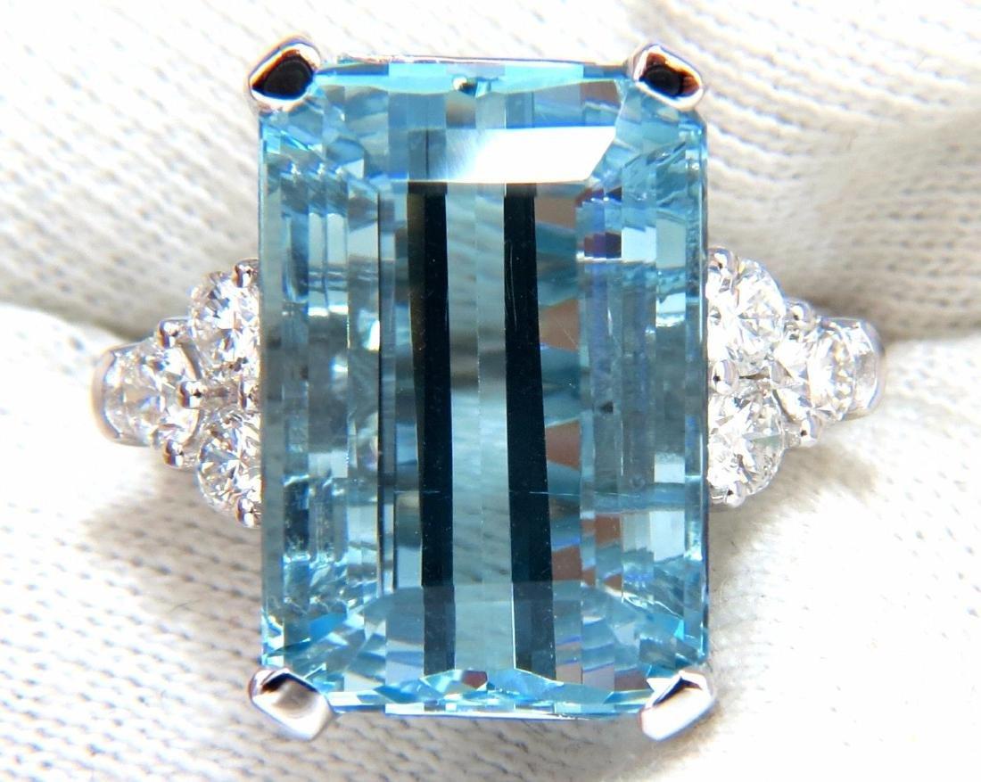 GIA Certified 19.99ct Natural Aquamarine diamonds ring - 6